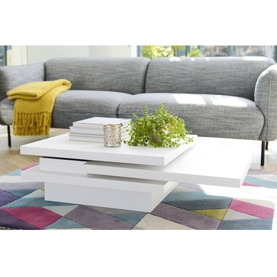 Rotate Square Coffee Table White – Dwell Pertaining To Spin Rotating Coffee Tables (Photo 37 of 40)