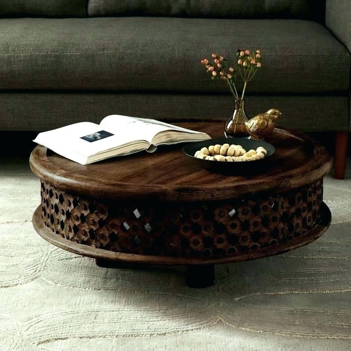 Round Carved Wood Coffee Table Continental Carved Wood Coffee Table Regarding Round Carved Wood Coffee Tables (Image 31 of 40)