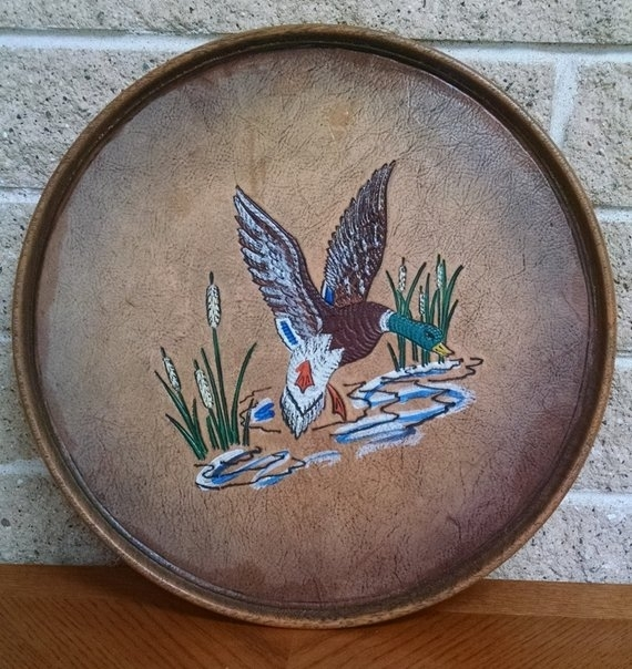 Round Cocktail Tray With Mallard Duck Faux Wood And Leather | Etsy Inside Mallard Cocktail Tables (View 27 of 40)