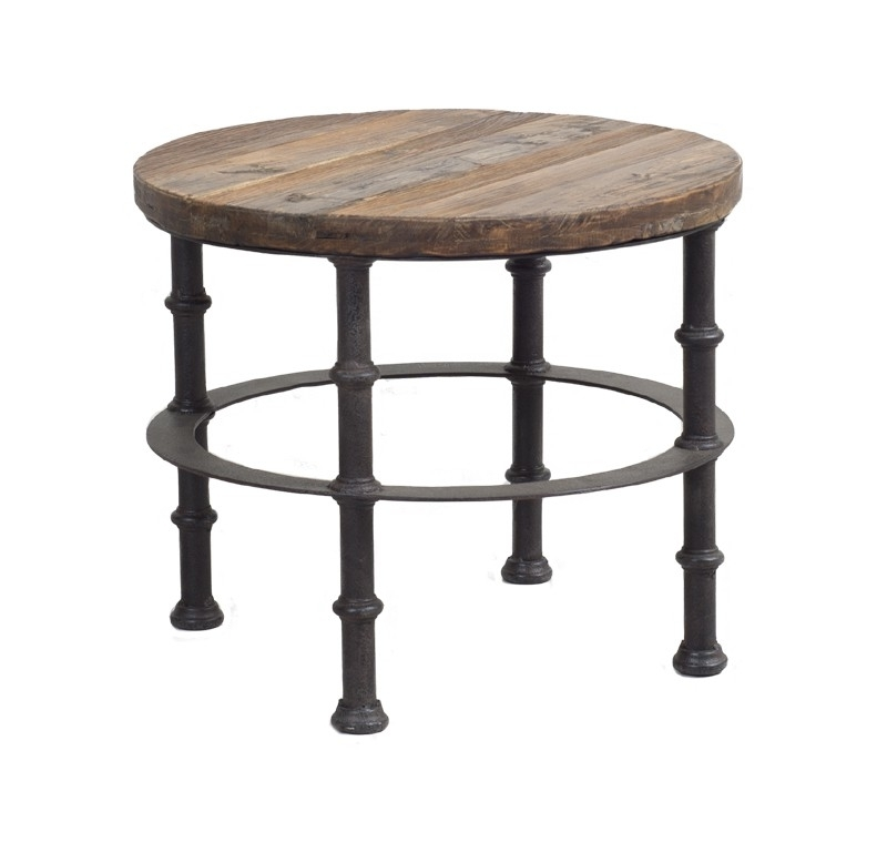 Round End Table Made Of Reclaimed Elm Wood Regarding Reclaimed Elm Iron Coffee Tables (View 5 of 40)
