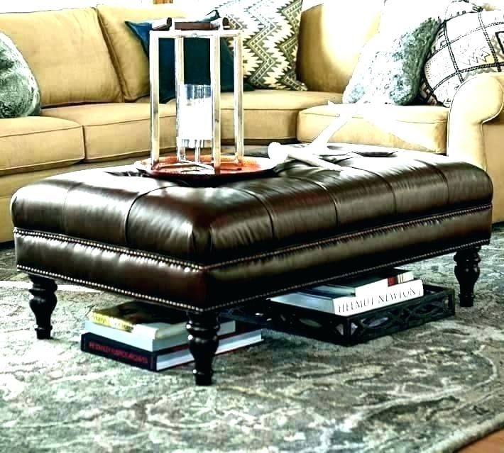 Round Leather Ottoman Coffee Table – Camilou (Image 26 of 40)