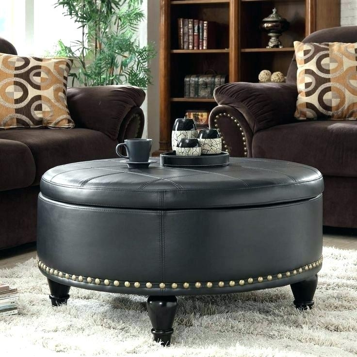 Round Leather Ottoman Crystal Button Round Ottoman Black Leather In Round Button Tufted Coffee Tables (Image 27 of 40)