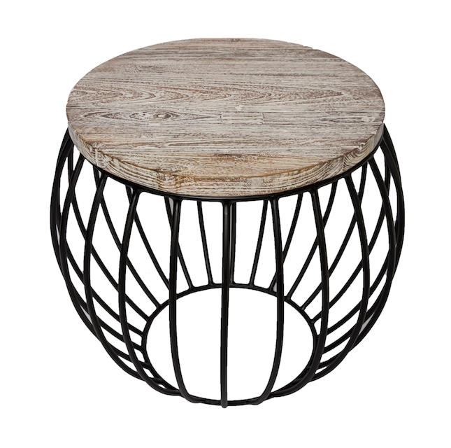 Round Side Table | Teak Matte Black | The Block Shop In Black Wire Coffee Tables (Image 26 of 40)