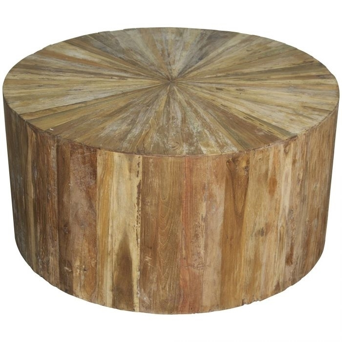 Round Teak Coffee Table In Pie Cut With Regard To Round Teak Coffee Tables (Image 24 of 40)