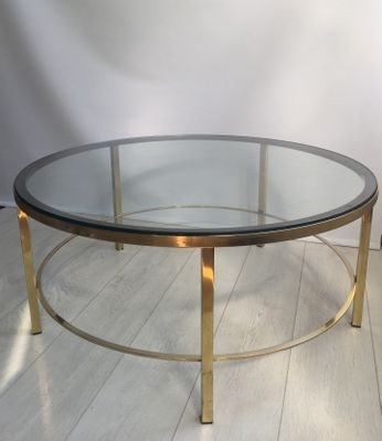 Round Vintage Brass Coffee Table For Sale At Pamono Inside Antique Brass Coffee Tables (Image 27 of 40)