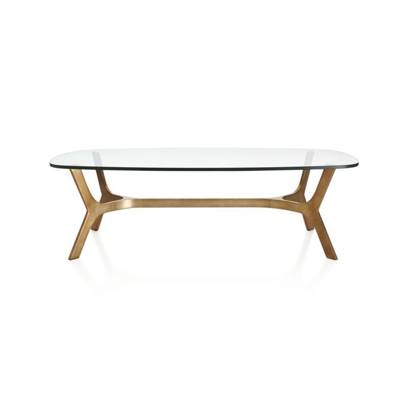 Rounded Rectangular Glass Top Gives A Clear View Of This Modern Inside Rectangular Brass Finish And Glass Coffee Tables (Photo 6 of 40)