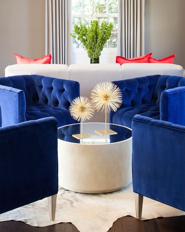 Royal Blue Chairs – Contemporary – Living Room – Martha O'hara Interiors With Regard To Cara Cocktail Tables (View 10 of 40)
