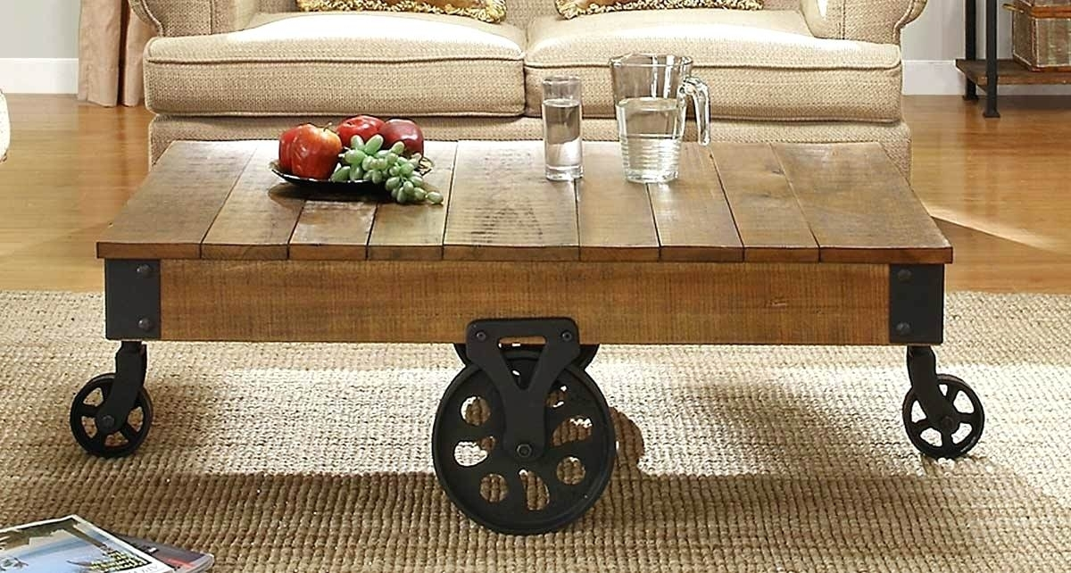 Rustic Coffee Table Wheels Regarding Ontario Cocktail Tables With Casters (Image 34 of 40)