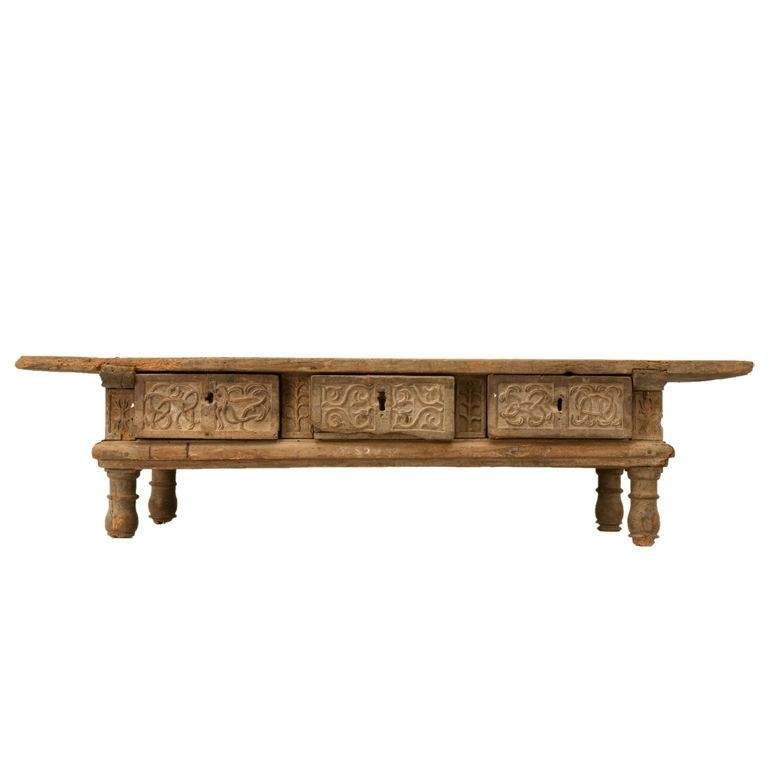 Rustic Original Hand Carved Spanish Coffee Table W/3 Drawers | Ideas Inside Spanish Coffee Tables (View 37 of 40)