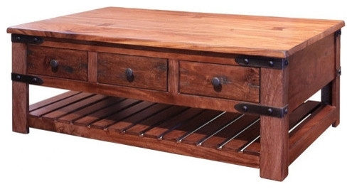 Rustic Solid Wood Coffee Tabe With 6 Drawers – Rustic – Coffee Intended For Weaver Dark Rectangle Cocktail Tables (Image 32 of 40)