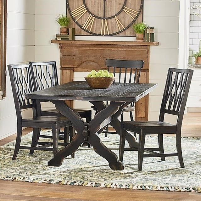 Rustic Trestle Table And Chair Setmagnolia Homejoanna Gaines Intended For Magnolia Home Ellipse Cocktail Tables By Joanna Gaines (Image 35 of 40)