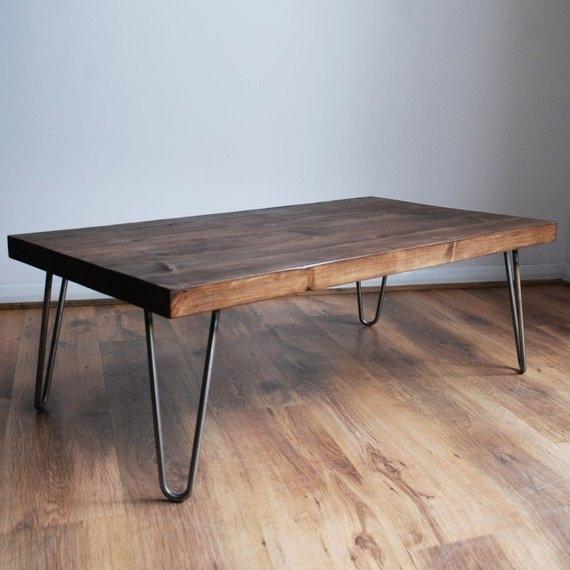 Rustic Vintage Industrial Solid Wood Coffee Table Bare Metal | Etsy Inside Vintage Wood Coffee Tables (Photo 17 of 40)