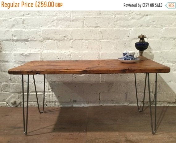 Sale Free Delivery! – Hairpin Legs Vintage Reclaimed Floorboards Inside Reclaimed Pine & Iron Coffee Tables (View 30 of 40)