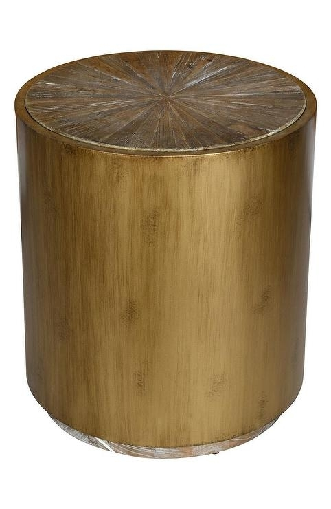 Salem Round Reclaimed Elm Brass End Table Inside Reclaimed Elm Iron Coffee Tables (View 33 of 40)