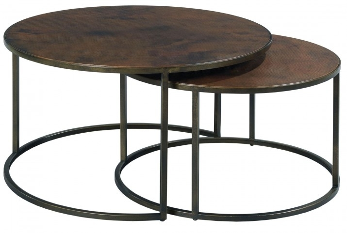 Sanford Acid Washed Copper Top Round Cocktail Table From Hammary Regarding Blanton Round Cocktail Tables (View 35 of 40)