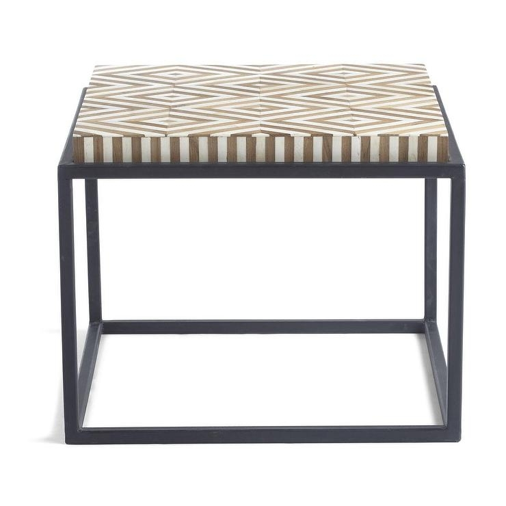Santa Fe Bone Inlay Diamond Pattern Side Table Inside Santa Fe Coffee Tables (Image 6 of 40)