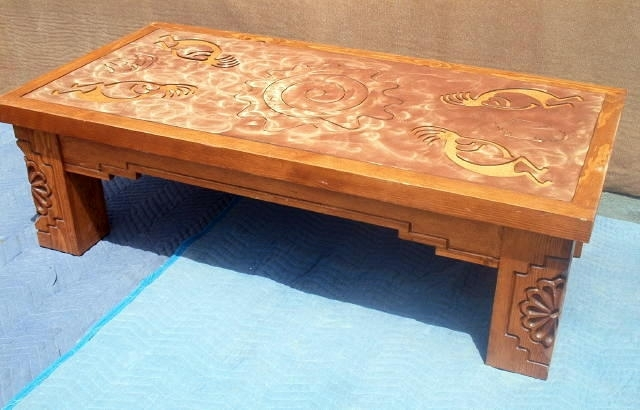 Santa Fe Coffee Table With Kokopelli Copper Inlay – Southwest For Santa Fe Coffee Tables (View 11 of 40)