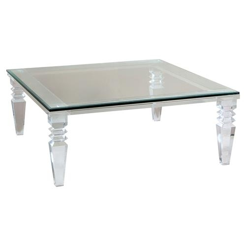 Savannah Modern Classic Square Crystal Cut Acrylic Coffee Table For Modern Acrylic Coffee Tables (Image 36 of 40)