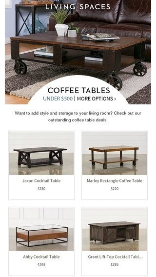 Save Big! | Coffee Tables Under $500 – Living Spaces Email Archive Within Abby Cocktail Tables (View 18 of 40)