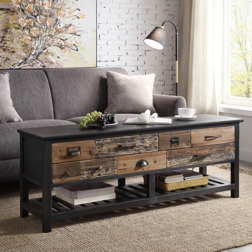 Sayer Coffee Table Reclaimed Elm Wood Black Paint Finish Pertaining To Reclaimed Elm Cast Iron Coffee Tables (View 29 of 40)
