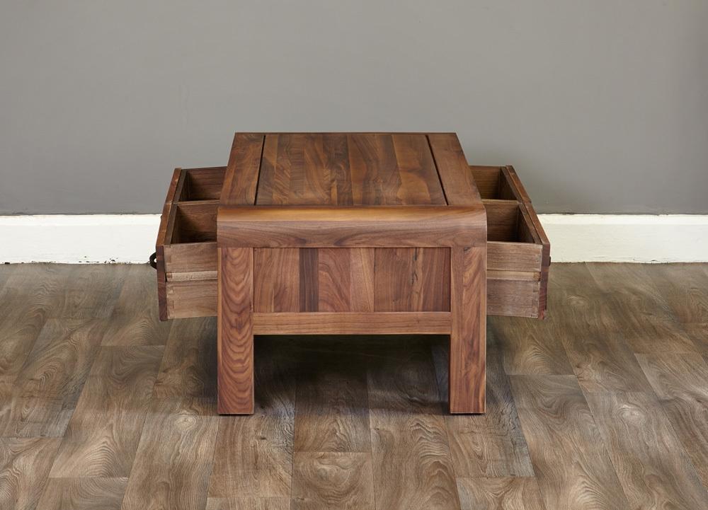 Shiro Walnut 4 Drawer Coffee Table | Coffee Tables Intended For Walnut 4 Drawer Coffee Tables (View 22 of 40)