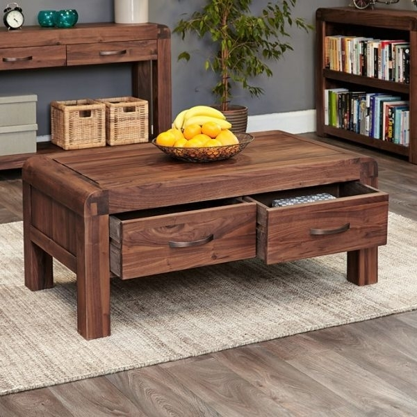 Shiro Walnut 4 Drawer Coffee Table – Only Oak Furniture Throughout Walnut 4 Drawer Coffee Tables (View 5 of 40)
