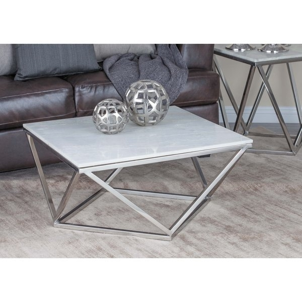 "Shop 29"" Modern Geometric Marble And Metal Coffee Tablestudio Throughout Modern Marble Iron Coffee Tables (Image 33 of 40)"