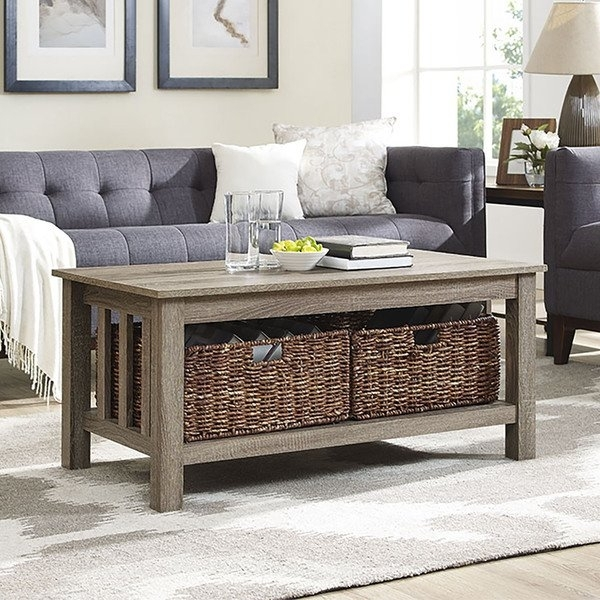 Shop 40 Inch Driftwood Coffee Table With Storage Totes – On Sale Pertaining To Lassen Square Lift Top Cocktail Tables (View 14 of 40)