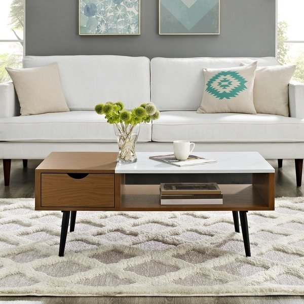 "Shop 42"" Mid Century Modern Wood And Faux Marble Coffee Table – 42 X With Regard To Mid Century Modern Marble Coffee Tables (Image 36 of 40)"