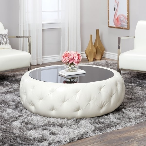 Shop Abbyson Havana Round Leather Coffee Table – On Sale – Free Throughout Round Button Tufted Coffee Tables (Image 31 of 40)