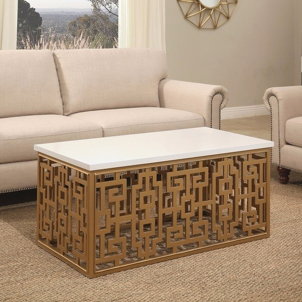 Shop Abbyson Marseille Gold Rectangle Coffee Table – On Sale – Free Regarding Weaver Dark Rectangle Cocktail Tables (View 37 of 40)