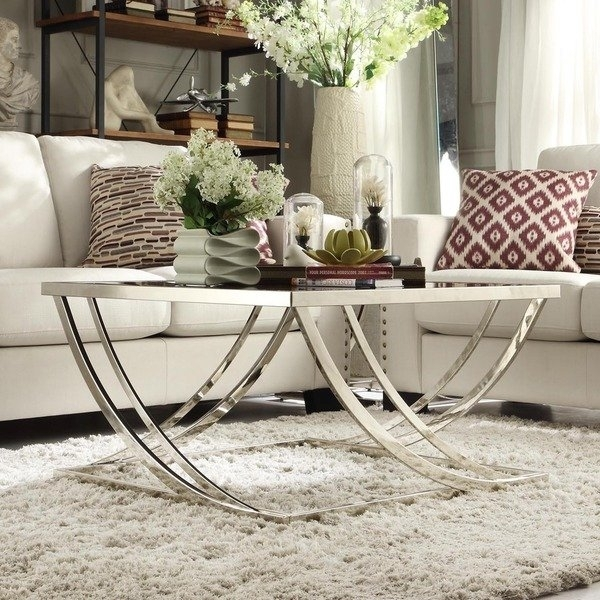 Shop Anson Steel Brushed Arch Curved Sculptural Modern Coffee Table Intended For Anson Cocktail Tables (View 6 of 40)