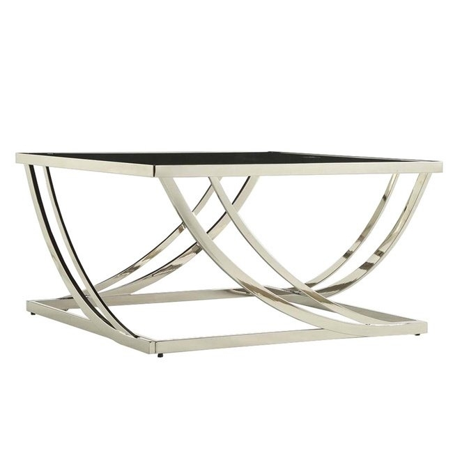 Shop Anson Steel Brushed Arch Curved Sculptural Modern Coffee Table Within Anson Cocktail Tables (View 11 of 40)