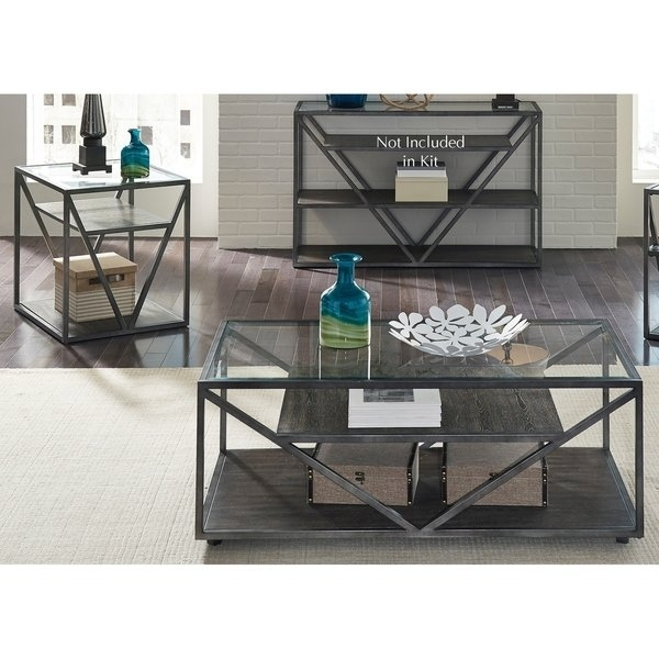Shop Arista Cobblestone Brown And Grey Dusty Wax 3 Piece Occasional Within Waxed Metal Coffee Tables (Image 29 of 40)