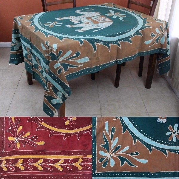 Shop Batik Elephant Mandala Rectangular Tablecloth 60 X 90 Inches Throughout Batik Coffee Tables (View 40 of 40)