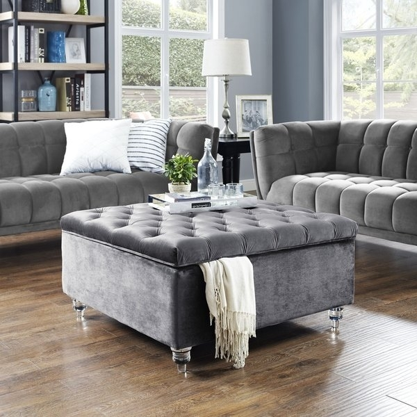 Shop Belini Modern Velvet Button Tufted Storage Ottoman/coffee Table In Button Tufted Coffee Tables (View 5 of 40)