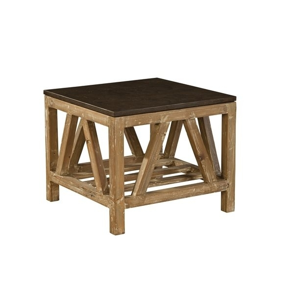 Shop Cyprian Reclaimed Fir And Bluestone Side Table – Free Shipping With Regard To Bluestone Rustic Black Coffee Tables (View 36 of 40)