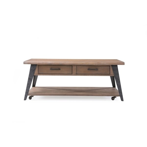 Shop Emerald Home Harper's Mill Weathered Tan Coffee Table – Free Pertaining To Mill Coffee Tables (View 25 of 40)