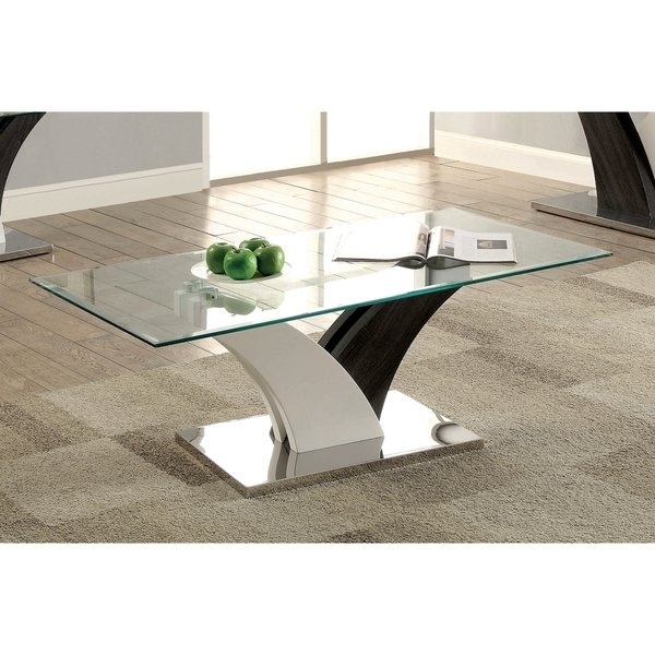 Shop Furniture Of America Bevelen Contemporary Two Tone White/dark Inside 2 Tone Grey And White Marble Coffee Tables (View 8 of 40)