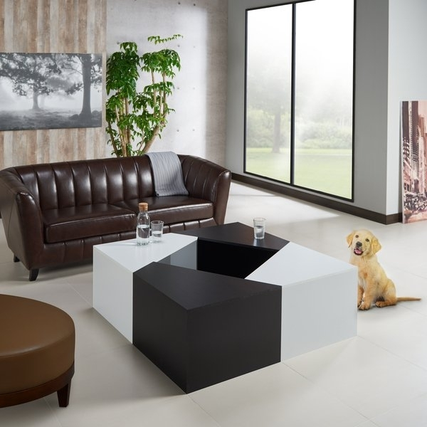 Shop Furniture Of America Clerington Modern Two Tone Black/white With Modular Coffee Tables (View 32 of 40)