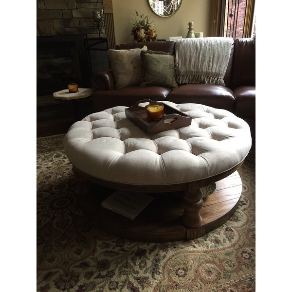Shop Furniture Of America Patterson Rustic Button Tufted Coffee In Button Tufted Coffee Tables (View 18 of 40)