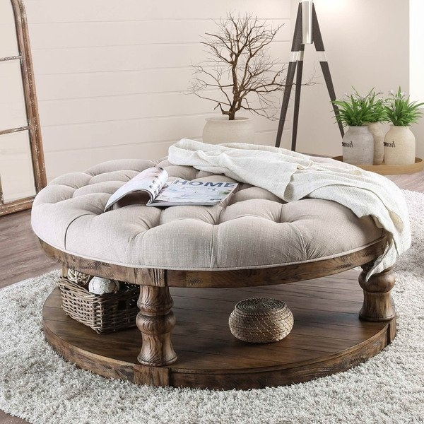 Shop Furniture Of America Patterson Rustic Button Tufted Coffee Within Button Tufted Coffee Tables (View 7 of 40)