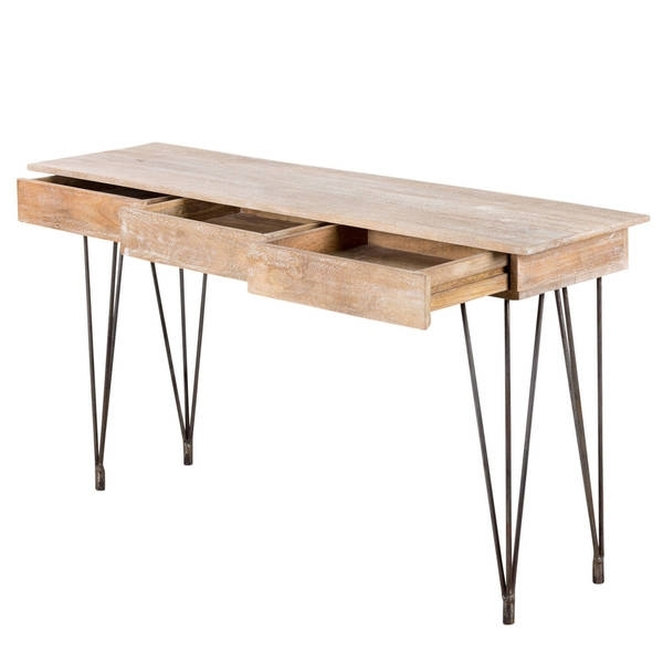 Shop Handmade Industrial Hairpin Mango Wood 3 Drawer Console Table Regarding Natural 2 Drawer Shutter Coffee Tables (Image 38 of 40)