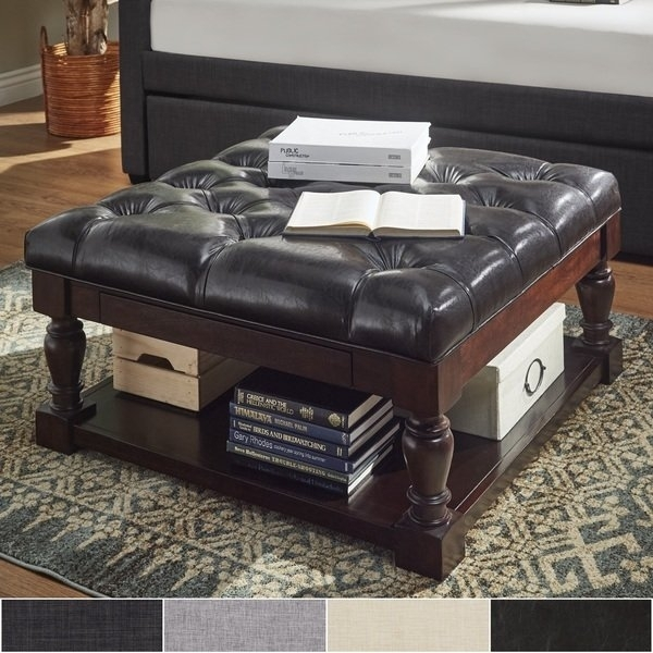 Shop Lennon Baluster Espresso Storage Ottoman Coffee Table Throughout Palmer Storage Cocktail Tables (Image 29 of 40)