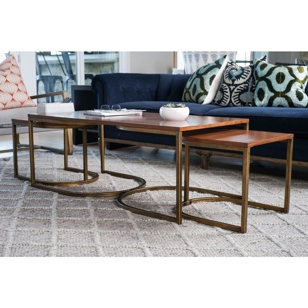 Shop Lincoln Deco Walnut Nesting Coffee Tables, Haven Homehives Throughout Haven Coffee Tables (Photo 17 of 40)