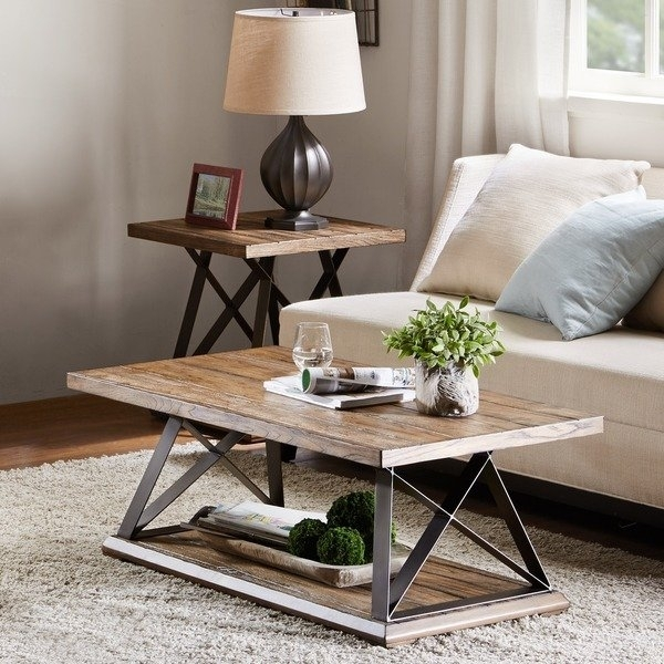 Shop Madison Park Hawk Natural Multi/gunmetal X Base Coffee Table Within Gunmetal Coffee Tables (Image 34 of 40)