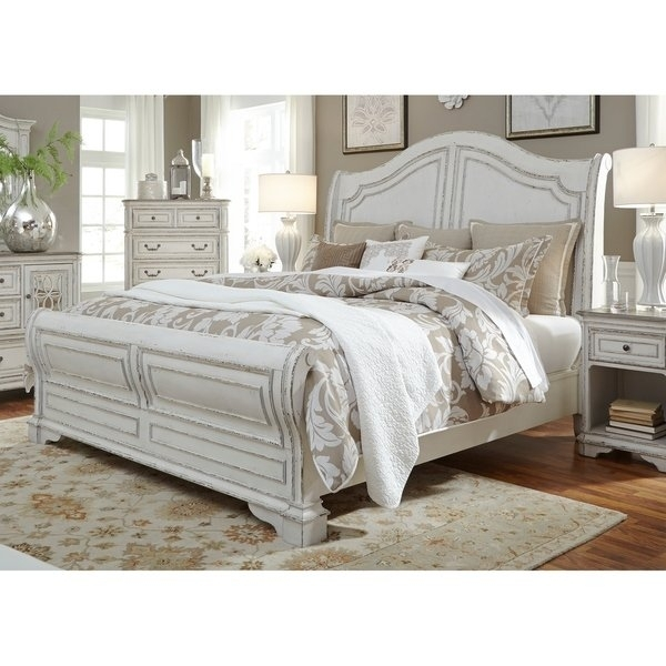 Shop Magnolia Home Antique White Sleigh Bed – On Sale – Free With Magnolia Home Louver Cocktail Tables (Image 31 of 39)