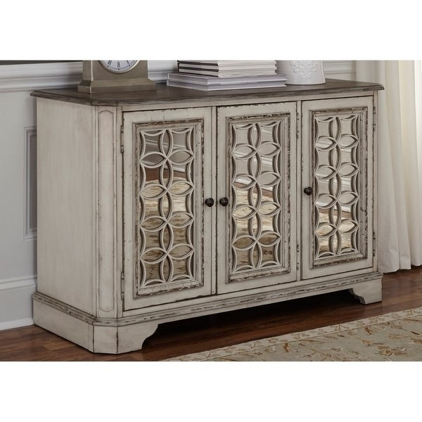 Shop Magnolia Manor Antique White Console Table – On Sale – Free Inside Magnolia Home Louver Cocktail Tables (Image 32 of 39)
