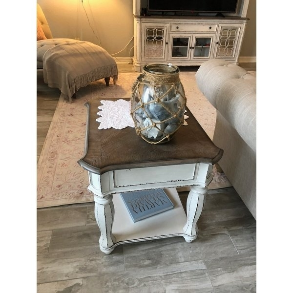 Shop Magnolia Manor Antique White End Table – On Sale – Free Throughout Magnolia Home Louver Cocktail Tables (Image 35 of 39)