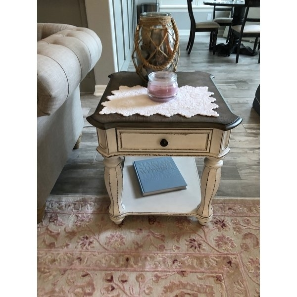 Shop Magnolia Manor Antique White End Table – On Sale – Free Within Magnolia Home Louver Cocktail Tables (Image 36 of 39)